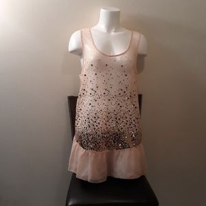 Love 2 Be Loved Pink Sheer Sequin Tank NEW